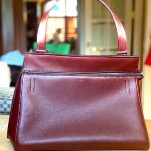 Céline Burgundy Pebbled Leather Bag, 100%Authentic